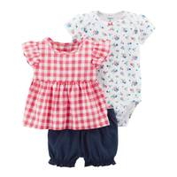 Carter's Baby Girl's Pink & White & Blue 3-Piece Bodysuit & Diaper Cover Set from Blain's Farm and Fleet