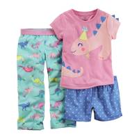 Carter's Infant Girl's Blue & Gray 3-Piece Donut Jersey Pajamas from Blain's Farm and Fleet