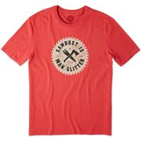 Life Is Good Men's Red Short Sleeve Sawdust is Man Glitter T-Shirt from Blain's Farm and Fleet