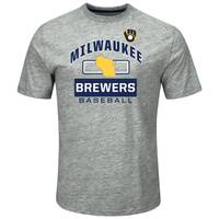 MLB Men's Grey Milwaukee Brewers Endurance Factor Tee from Blain's Farm and Fleet