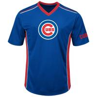 MLB Men's Royal Blue, Red, & White Short Sleeve Chicago Cubs Synthetic V-Neck T-Shirt from Blain's Farm and Fleet