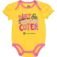 John Deere Girls' Yellow Short Sleeve Dirt Makes Me Cuter Bodysuit from Blain's Farm and Fleet