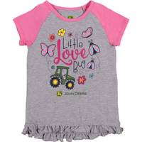 John Deere Girls' Grey & Pink Short Sleeve Lil Love Bug Tunic from Blain's Farm and Fleet