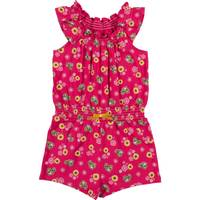 John Deere Girls' Magenta Sleeveless Sunflower Romper from Blain's Farm and Fleet