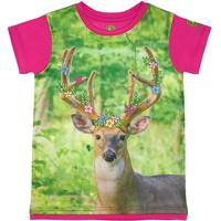 John Deere Little Girls' Magenta Short Sleeve Deer Tee Shirt from Blain's Farm and Fleet