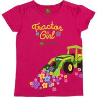 John Deere Little Girls' Pink Short Sleeve Tractor Girl Tee Shirt from Blain's Farm and Fleet