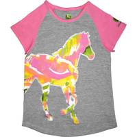 John Deere Little Girls' Pink Short Sleeve Heels Down Tee Shirt from Blain's Farm and Fleet