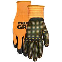 MidWest Gloves Men's Orange Max Grip Nitrile Dot Gloves from Blain's Farm and Fleet