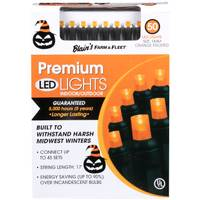 Seasons 4 50 Halloween Orange Frosted & Purple & Lime Frosted LED Lights from Blain's Farm and Fleet
