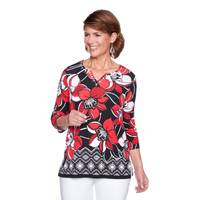 Alfred Dunner Women's 3/4 Sleeve Border Floral Top from Blain's Farm and Fleet