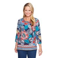 Alfred Dunner Women's 3/4 Sleeve Floral Print Top from Blain's Farm and Fleet