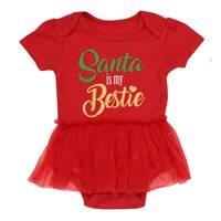 HJ Rashti Infant Girl's Santa Is My Bestie Red Bodysuit from Blain's Farm and Fleet