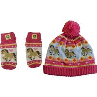 John Deere Toddler Girls' Magenta Pony Hat & Mitten Set from Blain's Farm and Fleet