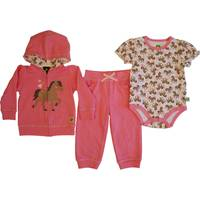 John Deere Infant Girls' Pink Long Sleeve 3-Piece Farm Horse Set from Blain's Farm and Fleet