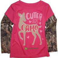 John Deere Toddler Girls' Magenta Long Sleeve L/S Cuter In Camo Tee from Blain's Farm and Fleet