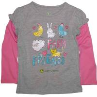 John Deere Toddler Girls' Grey Long Sleeve Farm Friends Tee from Blain's Farm and Fleet