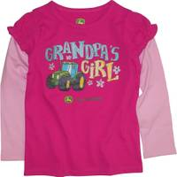 John Deere Toddler Girls' Magenta Long Sleeve Grandpa's Girl Tee from Blain's Farm and Fleet