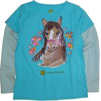 John Deere Little Girls' Turquoise Long Sleeve Flower Horse Tee from Blain's Farm and Fleet