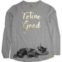 John Deere Big Girls' Grey Long Sleeve Feline Good Tee from Blain's Farm and Fleet