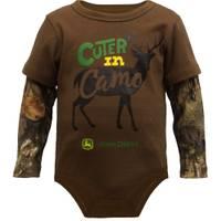 John Deere Infant Boys' Brown Long Sleeve Cuter In Camo Bodysuit from Blain's Farm and Fleet