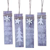 Transpac Wood Panel Winter Tag Ornament Assortment from Blain's Farm and Fleet