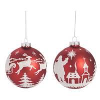 Transpac Glass Red Santa Ball Ornament Assortment from Blain's Farm and Fleet