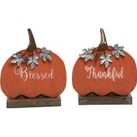 Transpac Imports Inc. Small Wood & Metal Pumpkin Greeting Assortment from Blain's Farm and Fleet