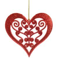 Caffco International Red Glitter Heart Ornament from Blain's Farm and Fleet