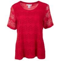 Cathy Daniels Women's Short Sleeve Scoop Neck Lace Top from Blain's Farm and Fleet
