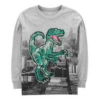 Carter's Big Boys' Heather Long Sleeve Dinosaur Building Tee Shirt from Blain's Farm and Fleet