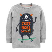 Carter's Toddler Boys' Heather Long Sleeve Just Roll With It Tee from Blain's Farm and Fleet