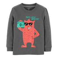 Carter's Toddler Boys' Long Sleeve Party Like A Monster Tee Grey from Blain's Farm and Fleet