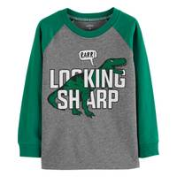 Carter's Toddler Boys' Heather Long Sleeve Looking Sharp Dinosaur Tee from Blain's Farm and Fleet