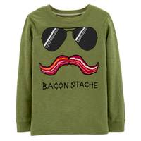 Carter's Big Boys' Olive Green Long Sleeve Bacon Stache Tee from Blain's Farm and Fleet