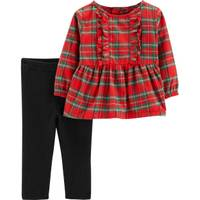 Carter's Infant Girls' 2-Piece Red & Black Top & Pants Set Plaid Top from Blain's Farm and Fleet