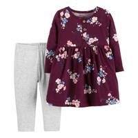 Carter's Infant Girls' Burgundy 2-Piece Dress Floral Legging Set from Blain's Farm and Fleet