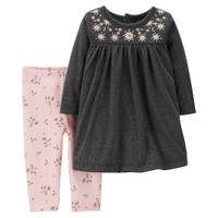 Carter's Infant Girls' Heather & Pink 2-Piece Dress Legging Set from Blain's Farm and Fleet