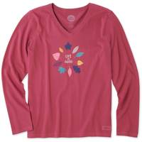 Life Is Good Misses' Long Sleeve Colorful Leaves Crusher V-Neck from Blain's Farm and Fleet