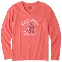 Life Is Good Misses' Long Sleeve Let it Snow Home Crusher V-Neck from Blain's Farm and Fleet