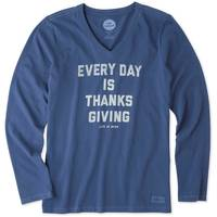 Life Is Good Misses' Long Sleeve Thanksgiving Crusher V-Neck from Blain's Farm and Fleet