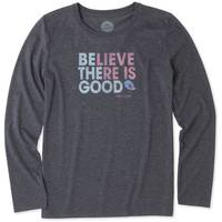 Life Is Good Misses' Long Sleeve Crew Believe Good Cool T-Shirt from Blain's Farm and Fleet