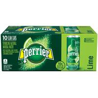 Perrier 10-Pack Sparkling Lime Slim Can from Blain's Farm and Fleet
