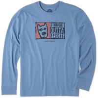 Life Is Good Men's Heather Vintage Blue Straight Outta Rescue Crusher Tee from Blain's Farm and Fleet