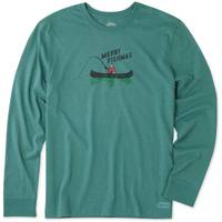 Life Is Good Men's Crusher Long Sleeve T-Shirt Merry Fishmas Green from Blain's Farm and Fleet