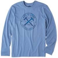 Life Is Good Men's Crusher Long Sleeve T-Shirt Positive Lifestyle Blue from Blain's Farm and Fleet