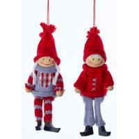 Kurt S. Adler Wooden Knit Boy/Girl Ornament Assortment from Blain's Farm and Fleet