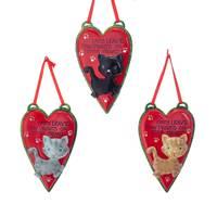 Kurt S. Adler Cat Paw Prints on Heart Ornament Assortment from Blain's Farm and Fleet
