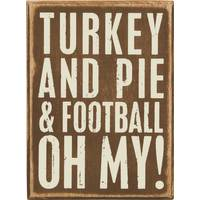 Primitives By Kathy Turkey, Pie, Football Box Sign from Blain's Farm and Fleet