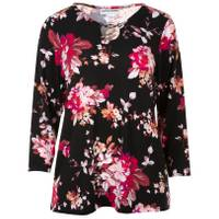 Cathy Daniels Women's Floral 3/4 Sleeve Print Pullover Top from Blain's Farm and Fleet
