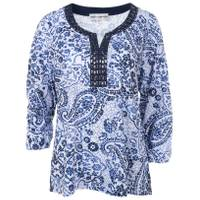 Cathy Daniels Women's 3/4 Sleeve Keyhole Neck Print Top from Blain's Farm and Fleet